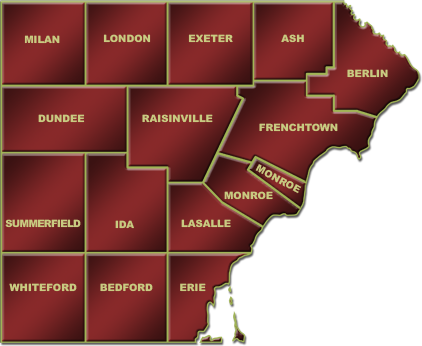 Find homes for sale all across Monroe County, MI. Tour a home in Milan, London, Exeter, Ash, Berlin, Dundee, Rainsinville, Frenchtown, Monroe, Summerfield, Ida, LaSalle, Whiteford, Bedford or Erie Township.